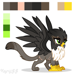 Size: 2000x2000 | Tagged: safe, artist:keyrijgg, oc, oc only, oc:quaizo gale, griffon, adoptable, art, closed adopt, griffin (character), reference, simple background, watermark, white background