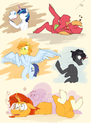 Size: 2000x2688 | Tagged: safe, artist:uliovka, big macintosh, braeburn, king sombra, shining armor, soarin', sunburst, pegasus, pony, unicorn, dazed, derp, face down ass up, faceless male, fetish, half, head swap, headless, lying down, male, modular, offscreen character, simple background, sleeping, stallion, yellow background