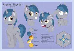 Size: 6059x4184 | Tagged: safe, artist:arcane-thunder, oc, oc only, oc:arcane thunder, pony, unicorn, angry, crying, cutie mark, fangs, lightning, male, reference sheet, simple background, solo, stallion