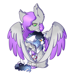 Size: 1024x1024 | Tagged: safe, artist:rosychild, oc, oc only, oc:meddow, oc:starlight charm, pegasus, unicorn, colored hooves, colored wings, comforting, crying, duo, female, gradient, horn, hug, male, pegasus oc, shading, stallion, unicorn oc, wings