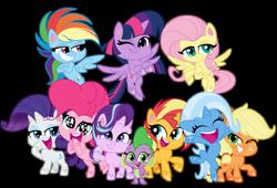 Size: 1085x737   Tagged: safe, artist:emeraldblast63, applejack, fluttershy, pinkie pie, rainbow dash, rarity, spike, starlight glimmer, sunset shimmer, trixie, twilight sparkle, alicorn, pony, my little pony: pony life, bipedal, chibi, mane seven, mane six, simple background, transparent background, twilight sparkle (alicorn)