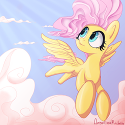 Size: 2048x2048 | Tagged: safe, artist:angelinarichter, fluttershy, pegasus, pony, cloud, crepuscular rays, cute, female, flying, high res, looking away, looking up, mare, outdoors, shyabetes, sky, solo, spread wings, windswept mane, wings