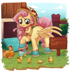Size: 1940x2000 | Tagged: safe, artist:ariamidnighters, fluttershy, bird, chicken, pegasus, pony, tabun art-battle, boots, bow, braid, chicken coop, collar, color pencil, coloured pencil, cute, cyrillic, daaaaaaaaaaaw, female, fence, floppy ears, flower hat, hat, heart, heart eyes, hen, looking at something, looking down, mare, one wing out, outdoors, pencil, pencil case, raised hoof, shirt collar, shoes, shyabetes, sign, smiling, solo, spread wings, standing, tabun art-battle cover, tail bow, three quarter view, translated in the description, wholesome, wingding eyes, wings