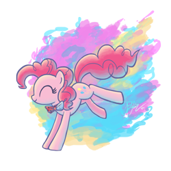 Size: 1440x1440 | Tagged: safe, artist:joellethenose, pinkie pie, earth pony, pony, bowtie, bucking, colored background, cute, diapinkes, eyes closed, female, happy, jumping, mare, png, profile, signature, simple background, smiling, solo, transparent background