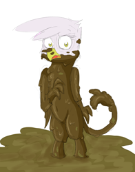 Size: 882x1124   Tagged: safe, artist:pzkratzer, gilda, 30 minute art challenge, bipedal, exclamation point, messy, mud, mud bath, sketch, swamp, wet and messy, younger