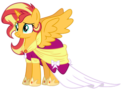 Size: 1024x754 | Tagged: safe, artist:emeraldblast63, sunset shimmer, alicorn, pony, magical mystery cure, alicornified, alternate hairstyle, clothes, coronation, coronation dress, dress, geode of empathy, magical geodes, race swap, shimmercorn, simple background, smiling, solo, transparent background