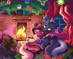 Size: 3040x2448 | Tagged: safe, artist:saxopi, oc, oc only, oc:red flux, changeling, christmas, christmas changeling, fireplace, holiday, red changeling, yellow changeling, yellow eyes