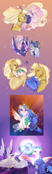Size: 1200x4001 | Tagged: safe, artist:bunnari, princess celestia, princess luna, star swirl the bearded, oc, oc:king cosmos, oc:queen constellatia, alicorn, pony, unicorn, alicorn oc, cewestia, colored hooves, female, filly, glowing horn, hat, horn, magic, male, mare, previous generation, stallion, story included, wings, woona, younger