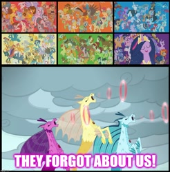 Size: 1134x1152 | Tagged: safe, edit, edited screencap, screencap, adagio dazzle, aloe, angel bunny, apple bloom, apple rose, applejack, aria blaze, auntie applesauce, autumn blaze, babs seed, berry punch, berryshine, big macintosh, bon bon, bow hothoof, braeburn, bright mac, burnt oak, capper dapperpaws, carrot cake, cattail, cheerilee, cheese sandwich, cherry jubilee, clear sky, cloudy quartz, coco pommel, coloratura, cranky doodle donkey, cup cake, daring do, derpy hooves, diamond tiara, discord, dj pon-3, doctor fauna, doctor muffin top, double diamond, fancypants, featherweight, flam, flash magnus, flash sentry, flim, fluttershy, gabby, garble, gentle breeze, gilda, goldie delicious, grand pear, granny smith, gummy, hoity toity, igneous rock pie, iron will, limestone pie, little strongheart, lotus blossom, lyra heartstrings, marble pie, matilda, maud pie, mayor mare, meadowbrook, mistmane, moondancer, mudbriar, night glider, night light, nurse redheart, ocellus, octavia melody, opalescence, owlowiscious, pear butter, pharynx, photo finish, pinkie pie, pipsqueak, plaid stripes, posey shy, pound cake, prince rutherford, princess cadance, princess celestia, princess ember, princess luna, pumpkin cake, quibble pants, rainbow dash, rarity, rockhoof, roseluck, rumble, saffron masala, sandbar, sassy saddles, scootaloo, shining armor, silver spoon, silverstream, sky beak, sky stinger, smolder, snails, snips, soarin', somnambula, sonata dusk, spike, spitfire, starlight glimmer, stygian, sugar belle, sunburst, sunset shimmer, sweetie belle, sweetie drops, tank, thorax, thunderlane, tree hugger, trixie, trouble shoes, twilight sparkle, twilight velvet, twist, vapor trail, vinyl scratch, wind sprint, windy whistles, winona, yona, zecora, zephyr breeze, zippoorwhill, abyssinian, alicorn, alligator, bird, breezie, buffalo, cat, changedling, changeling, classical hippogriff, dog, donkey, draconequus, dragon, earth pony, griffon, hippogriff, kirin, minotaur, owl, pegasus, pony, rabbit, siren, tortoise, unicorn, yak, zebra, shadow play, the last problem, animal, bloodstone scepter, caption, colt, female, filly, flim flam brothers, image macro, king thorax, male, mane six, mare, meme, prince pharynx, rara, stallion, text, the dazzlings, they forgot about me, twilight sparkle (alicorn)