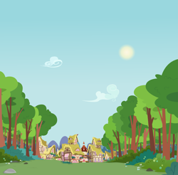 Size: 2467x2432 | Tagged: safe, artist:boneswolbach, background, bush, cloud, flower, high res, house, mostly sunny, mountain, no pony, ponyville, ponyville town hall, scenery, sky, sun, tree, vector