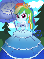 Size: 1536x2048 | Tagged: safe, artist:saltymango, parasol, rainbow dash, equestria girls, alternate clothes, alternate hairstyle, clothes, crown, cute, dress, gown, jewelry, princess, rainbow dash always dresses in style, regalia, smiling at you, solo