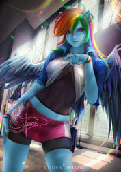 Size: 848x1200 | Tagged: safe, alternate version, artist:axsens, color edit, edit, editor:drakeyc, rainbow dash, equestria girls, chromatic aberration, clothes, colored, compression shorts, eyeshadow, fit, hand on hip, jacket, makeup, pony ears, rainbow, sexy, shirt, shirt lift, shorts, skin color edit, skirt, smiling, smiling at you, solo, stupid sexy rainbow dash, tomboy, undershirt, watermark, winged humanization, wings, wristband