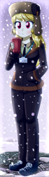 Size: 520x1860 | Tagged: safe, artist:the-butch-x, march gustysnows, equestria girls, beverage, clothes, coat, cup, equestria girls-ified, female, hand in pocket, hat, pants, shoes, snow, solo