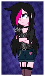 Size: 900x1516 | Tagged: safe, artist:zoe-975, oc, oc:zoe star pink, human, equestria girls, badass, clothes, equestria girls-ified, female, hair over one eye, jacket, shorts, solo