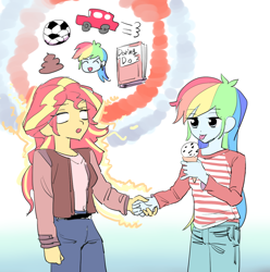 Size: 1222x1230 | Tagged: safe, artist:ceitama, rainbow dash, sunset shimmer, equestria girls, car, daring do books, food, football, glowing eyes, ice cream, poop, sports, telepathy, tongue out