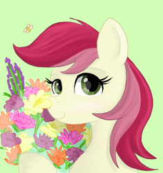 Size: 918x973 | Tagged: safe, artist:rainbowfoxxy, roseluck, bee, insect, female, flower, mare, solo