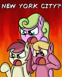 Size: 2400x3000 | Tagged: safe, artist:saburodaimando, daisy, flower wishes, lily, lily valley, roseluck, angry, fire background, flower trio, new york city, outrage, pace, pace salsa, salsa