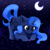 Size: 3000x3000 | Tagged: safe, artist:mite-lime, princess luna, alicorn, insect, pony, cute, ear fluff, face down ass up, female, high res, leg fluff, lunabetes, moon, night, solo, sweat, sweatdrop