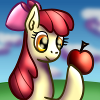 Size: 200x200 | Tagged: safe, artist:platinumdrop, apple bloom, adorabloom, apple, bow, cute, food, mane bow, solo
