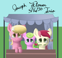 Size: 2980x2784 | Tagged: safe, artist:mlplayer dudez, daisy, flower wishes, lily, lily valley, roseluck, earth pony, pony, cute, digital art, flower, flower in hair, flower trio, mouth hold, rose, shading, signature, stand, trio