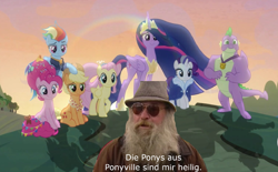 Size: 1584x984 | Tagged: safe, edit, edited screencap, screencap, applejack, fluttershy, pinkie pie, rainbow dash, rarity, spike, twilight sparkle, alicorn, dragon, the last problem, german, mane seven, mane six, meme, older, older applejack, older fluttershy, older mane seven, older mane six, older pinkie pie, older rainbow dash, older rarity, older spike, older twilight, princess twilight 2.0, twilight sparkle (alicorn), winged spike