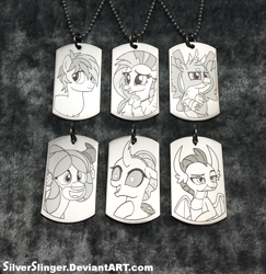 Size: 839x862 | Tagged: safe, artist:silverslinger, gallus, ocellus, sandbar, silverstream, smolder, yona, craft, irl, jewelry, pendant, photo, student six