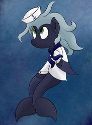 Size: 1024x1400 | Tagged: safe, artist:ahorseofcourse, oc, oc only, oc:belle luga, original species, pony, female, mare, sailor, solo, underwater, whale pony