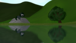 Size: 3840x2160 | Tagged: safe, artist:ahorseofcourse, oc, oc only, kelpie, lake, reflection, rock, solo, tree, water