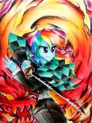 Size: 2322x3096 | Tagged: safe, artist:liaaqila, rainbow dash, equestria girls, crossover, demon slayer, female, kimetsu no yaiba, solo, sword, weapon