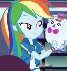 Size: 1025x1080 | Tagged: safe, screencap, rainbow dash, equestria girls, equestria girls series, holidays unwrapped, spoiler:eqg series (season 2), bowtie, clothes, cloud, cropped, cute, dashabetes, dashing through the mall, female, geode of super speed, hat, jacket, jewelry, lidded eyes, magical geodes, merchandise, necklace, pockets, rainbow, shirt, short sleeves, smiling, store, stuffed animals, t-shirt, thunderbolt, wristband