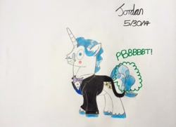 Size: 1024x742   Tagged: safe, artist:jordansilverblade17, fancypants, pony, unicorn, blushing, clothes, embarrassed, fart, fart noise, male, monocle, onomatopoeia, solo, sound effects, stallion, traditional art, wide eyes