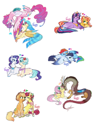 Size: 4688x5979 | Tagged: safe, artist:snowballflo, applejack, coco pommel, discord, fluttershy, pinkie pie, princess skystar, rainbow dash, rarity, soarin', sunset shimmer, torque wrench, twilight sparkle, alicorn, draconequus, earth pony, hippogriff, pegasus, pony, unicorn, my little pony: the movie, absurd resolution, apple wrench, bandana, clothes, cutie mark, discoshy, draconequified, eyes closed, female, flying, heart, horn, horns, interspecies, jewelry, lesbian, looking at each other, lying down, lying on top of someone, male, mane six, mare, marshmallow coco, necklace, nuzzling, pinkonequus, pony pillow, prone, regalia, scarf, shipping, simple background, sitting, skypie, smiling, soarindash, species swap, spread wings, stallion, straight, sunsetsparkle, tail wrap, twilight sparkle (alicorn), white background, wings, xk-class end-of-the-world scenario