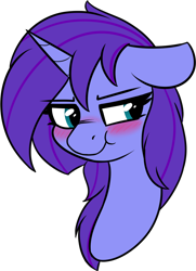 Size: 772x1064 | Tagged: safe, artist:seafooddinner, oc, oc only, oc:seafood dinner, pony, unicorn, blushing, female, floppy ears, grumpy, mare, scrunchy face, simple background, solo, transparent background