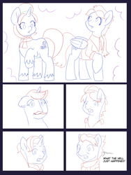 Size: 6000x8000 | Tagged: safe, artist:chedx, firelight, hondo flanks, snap shutter, wind rider, oc, oc:fiery feather, oc:scorching snicker-doodle, earth pony, pegasus, pony, unicorn, comic:the other grandparents, butt, carousel boutique, clothes, comic, commissioner:bigonionbean, confused, cutie mark, facial hair, female, fusion, fusion:fiery feather, fusion:scorching snicker-doodle, hat, jewelry, magic, male, mare, merge, merging, potion, sketch, sketch dump, stallion, writer:bigonionbean