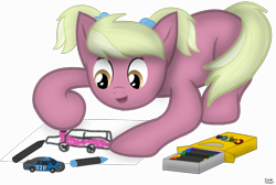 Size: 1800x1210 | Tagged: safe, artist:99999999000, oc, oc:susie cotes, earth pony, car, crayon, drawing, female, filly, toy, younger