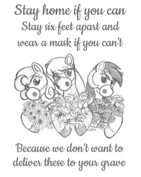 Size: 720x900 | Tagged: safe, artist:texasuberalles, daisy, flower wishes, lily, lily valley, roseluck, earth pony, pony, colored hooves, coronavirus, covid-19, daisy (flower), female, flower, flower trio, grayscale, lily (flower), looking at you, mare, mask, monochrome, pencil drawing, rose, simple background, traditional art, white background