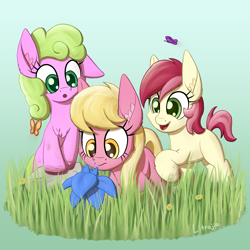 Size: 2250x2250 | Tagged: safe, artist:litrojia, daisy, flower wishes, lily, lily valley, roseluck, butterfly, earth pony, pony, :o, chest fluff, cute, dandelion, dirt, ear fluff, female, filly, flower, flower trio, gradient background, grass, high res, large ears, nudge, open mouth, poison joke, rock, smiling, this will end in tears, this will not end well, trio, younger
