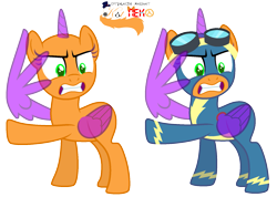 Size: 1701x1213 | Tagged: safe, artist:katnekobase, oc, oc only, alicorn, pony, alicorn oc, annoyed, base, clothes, duo, eyelashes, goggles, gritted teeth, horn, raised hoof, simple background, transparent background, uniform, wing hands, wings, wonderbolts uniform