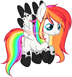 Size: 656x694 | Tagged: safe, artist:skulifuck, oc, oc only, oc:nimbus petal, pegasus, pony, base used, eye clipping through hair, female, looking down, mare, multicolored mane, pegasus oc, rainbow hair, simple background, smiling, socks (coat marking), solo, transparent background, watermark, wings