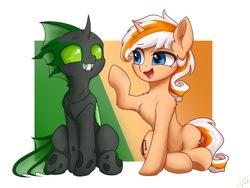 Size: 4000x3000   Tagged: safe, alternate version, artist:astery, derpibooru exclusive, oc, oc only, oc:accurate balance, oc:utopia, changeling, pony, accopia, both cutie marks, changeling oc, commission, duo, green changeling, grin, lifted hoof, looking at each other, simple background, sitting, smiling, two-tone background, two-tone mane