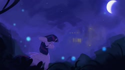 Size: 1920x1080 | Tagged: safe, artist:hierozaki, twilight sparkle, alicorn, pony, female, moon, night, solo, twilight sparkle (alicorn)