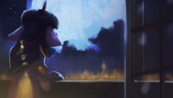 Size: 1920x1080 | Tagged: safe, artist:hierozaki, twilight sparkle, pony, unicorn, female, floppy ears, moon, night, solo