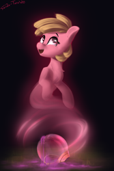 Size: 1800x2700 | Tagged: safe, artist:shido-tara, oc, oc:puppysmiles, ghost, undead, fallout equestria, fallout equestria: pink eyes, dark background, fanfic art, female, filly, helmet, pink cloud (fo:e), simple background, smiling