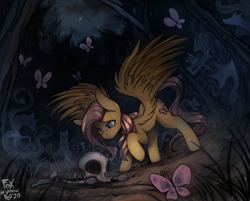 Size: 1400x1124   Tagged: safe, artist:foxinshadow, fluttershy, butterfly, pegasus, pony, bone, commission, corpse, everfree forest, female, mare, skeleton, spirit