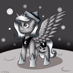 Size: 3000x3000   Tagged: safe, artist:brilliant-luna, princess luna, alicorn, pony, moonstuck, armor, cartographer's cap, cheek fluff, cute, ear fluff, female, filly, hat, mare, monochrome, moon, smiling, smirk, solo, space, stars, woona, younger
