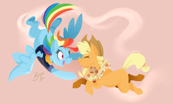 Size: 5520x3314 | Tagged: safe, artist:ballpitbee, applejack, rainbow dash, earth pony, pegasus, pony, the last problem, appledash, clothes, cowboy hat, eyes closed, falling, female, flying, hat, lesbian, mare, missing cutie mark, older, older applejack, older rainbow dash, scarf, shipping