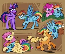 Size: 1800x1500   Tagged: safe, artist:klhpyro, applejack, fluttershy, pinkie pie, rainbow dash, twilight sparkle, alicorn, earth pony, pegasus, pony, appledash, applejack's hat, cowboy hat, female, flutterdash, flying, goggles, hat, hug, laughing, lesbian, mouth hold, onomatopoeia, pinkiedash, rainbow dash gets all the mares, shipping, sleeping, sound effects, twidash, twilight sparkle (alicorn), winghug, z, zzz