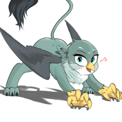 Size: 4096x4096 | Tagged: safe, artist:xxpaw2001xx, gabby, griffon, absurd resolution, bent over, cute, female, floating heart, gabbybetes, heart, looking at you, simple background, solo, white background