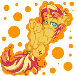 Size: 2500x2500 | Tagged: safe, artist:rurihal, sunset shimmer, pony, unicorn, chest fluff, cute, ear fluff, female, hoof fluff, hoof hold, impossibly large chest fluff, legs in air, lidded eyes, mare, shimmerbetes, simple background, solo, unshorn fetlocks