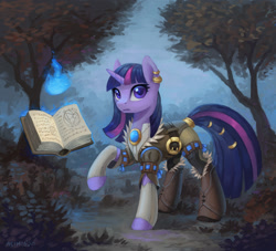Size: 1322x1200 | Tagged: safe, artist:asimos, twilight sparkle, pony, unicorn, book, boots, bush, clothes, ear piercing, female, jewelry, magic, mare, piercing, raised hoof, ring, scenery, shoes, solo, tail, tail ring, tail wrap, tree, unicorn twilight